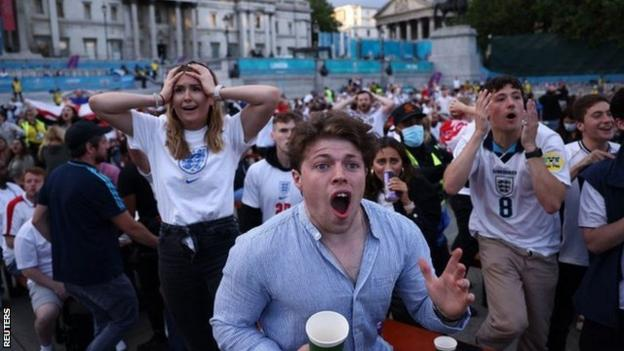 England fans react during the Euro 2020 game against Ukraine