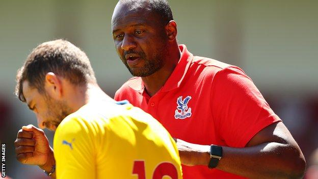 Vieira with experienced midfielder James McArthur during the friendly against Walsall