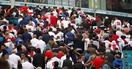 Fans charge security at Wembley before Euro final, 19 police injured