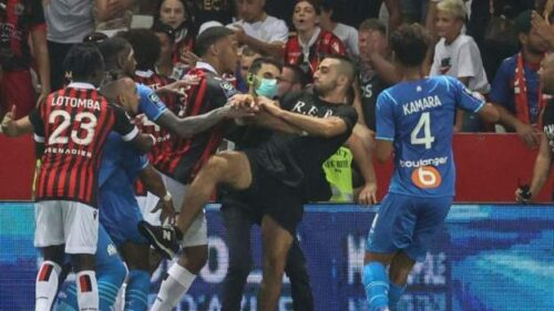 Nice 1-0 Marseille: Match abandoned after fans storm pitch